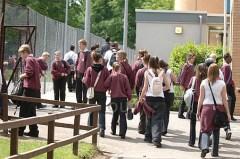 teenagers outside school