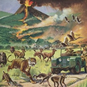 Animals running from volcano