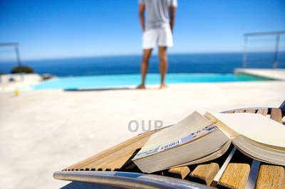 Man on holiday with a book