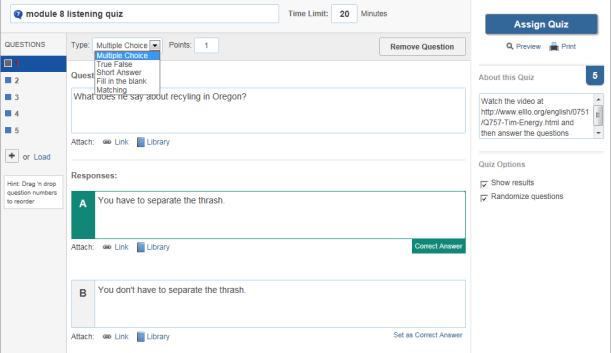Figure 6: Quiz tool