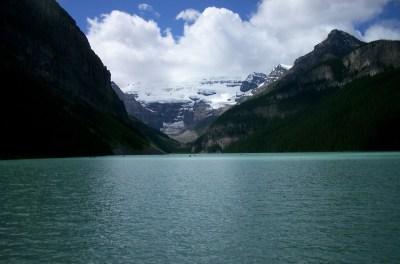Open water by mountain range