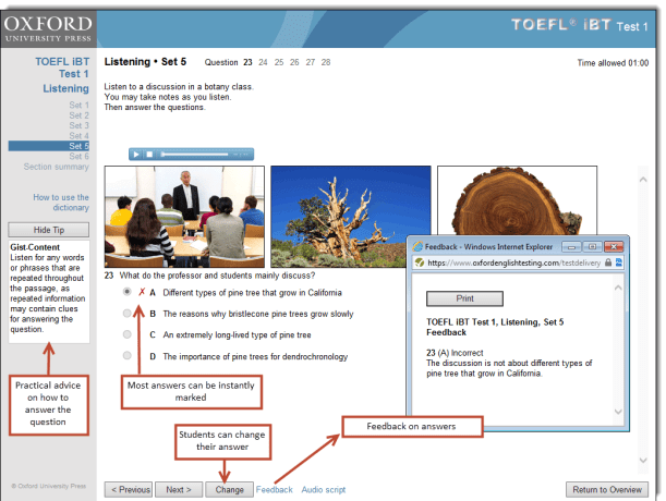 TOEFL iBT OPT support features