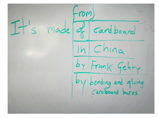 Figure 5. A pop-up grammar lesson written on the board.