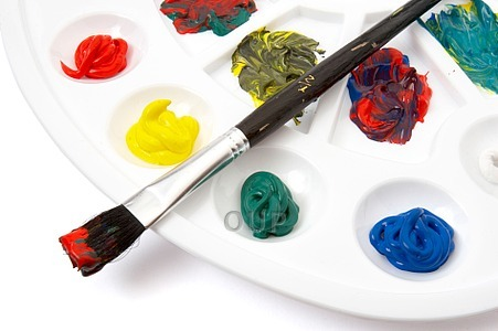 close up of colors art supplies on white background with clipping path