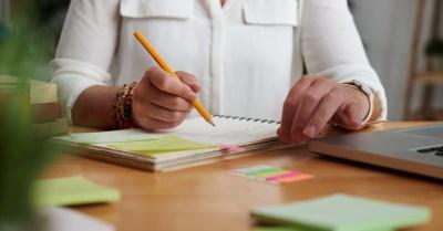 female teacher lesson planning