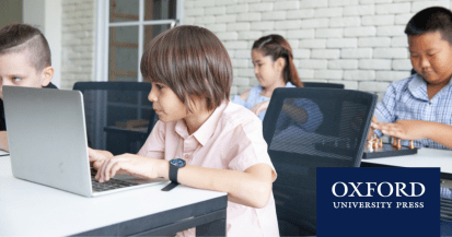 Students playing computer games to learn english