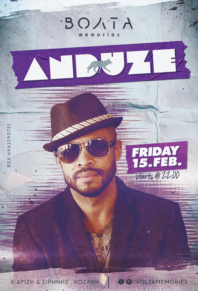 Vocal Dj Set  από τον  Anduze στο Βόλτα memories στην Κοζάνη, την Παρασκευή 15 Φεβρουαρίου