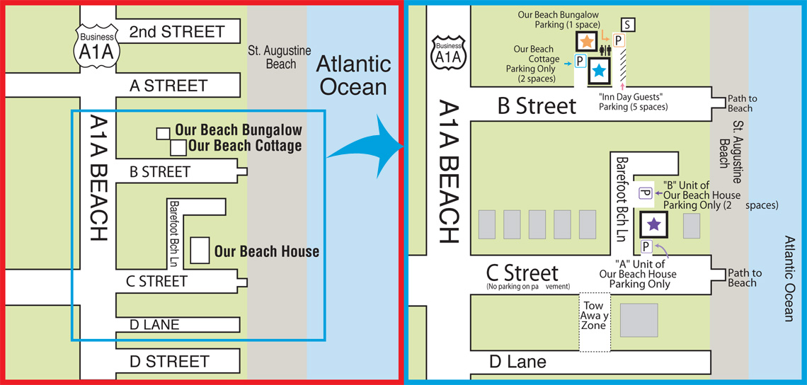 Maps for Our Beach Lodgings
