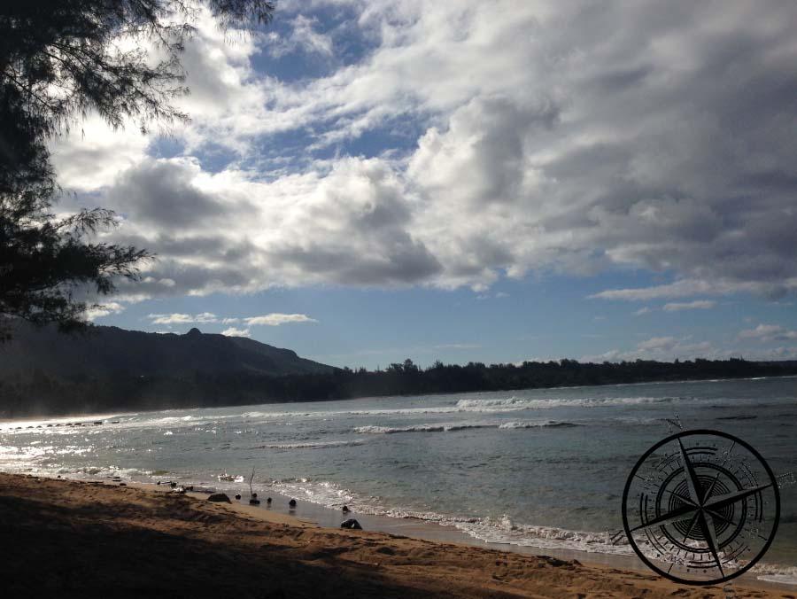 """Der Strand vom """"Anahola Beach Park"""", unserem zweiten Campingplatz"""