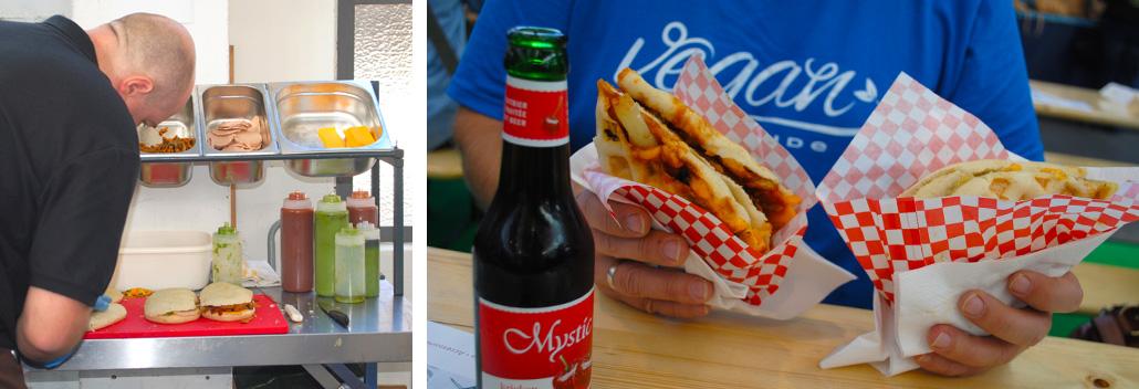 Vegane Sandwiches am Stand von WafflesVeg