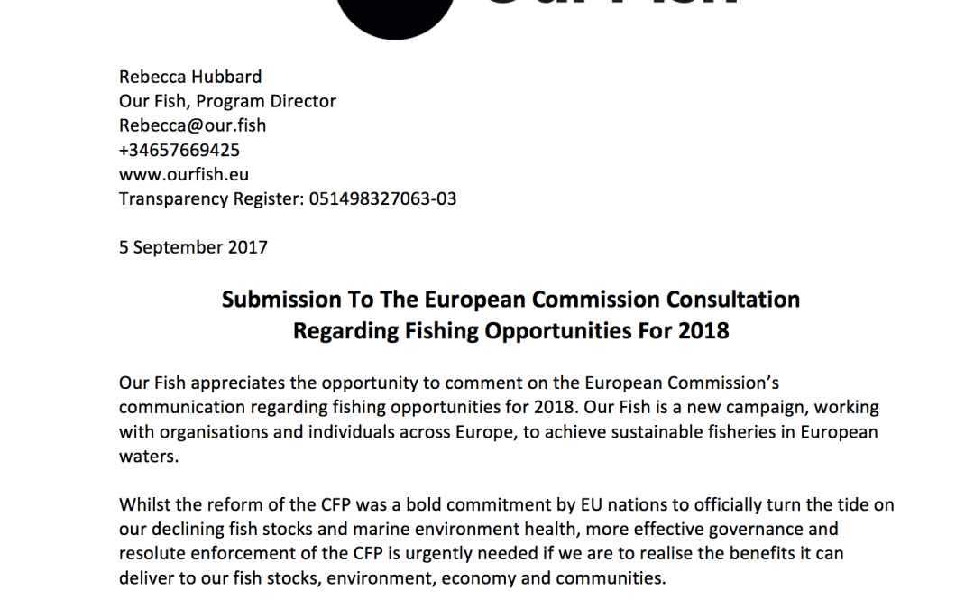 Submission To The European Commission Consultation Regarding Fishing Opportunities For 2018