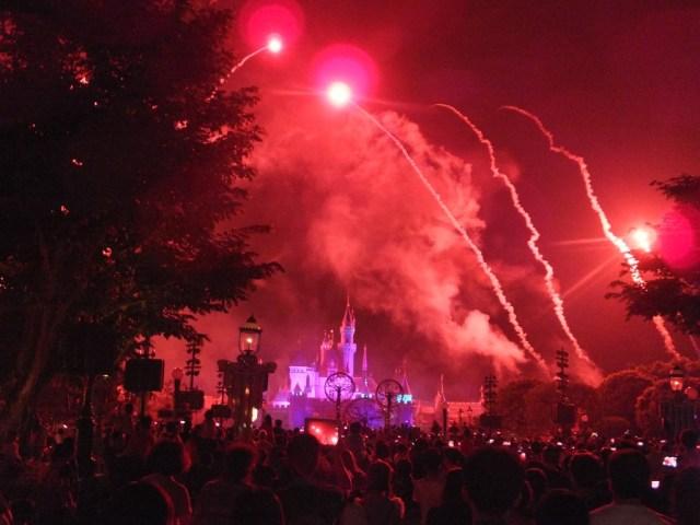 Sleeping Beauties Castle during the fireworks display