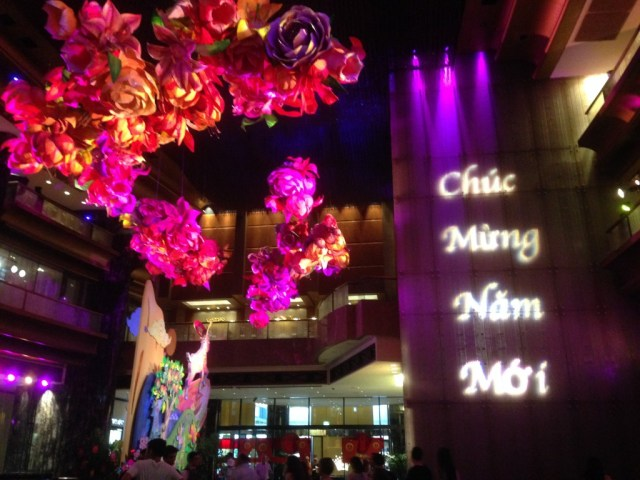 The Crown Towers Atrium decorated for Chinese New Year.