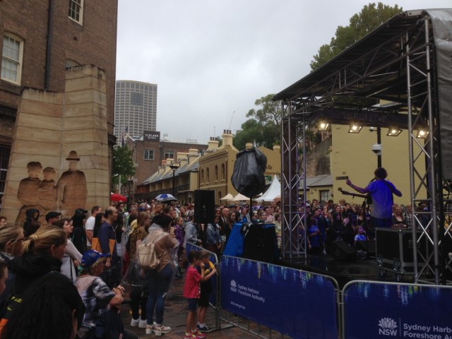 On the way back to the Opera House we stopped to watch another band.
