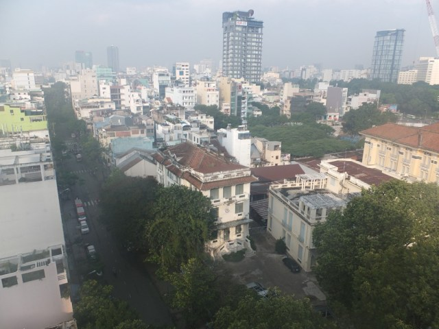 View from the breakfast bar on the balcony of the Signature Saigon Hotel.