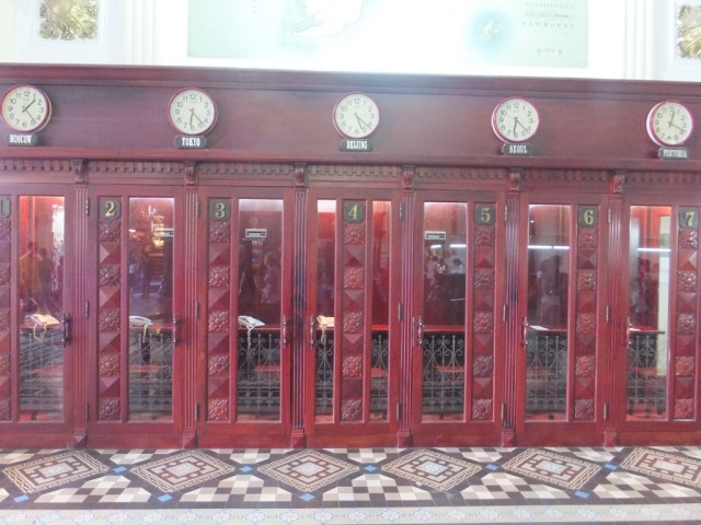 The public phone boxes in the Saigon Post Office.