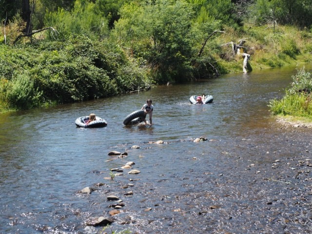 Tubing on the Ovens River - rapids