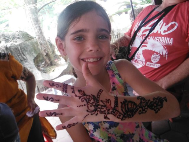 Keira with her henna tattoo, she loved it.