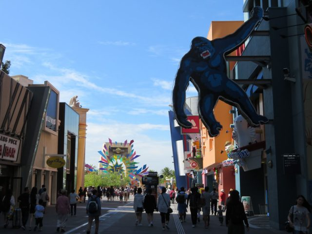 The walkway between Universal Studios Station and the entrance to the park