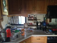Messy kitchen as I found homes for things...