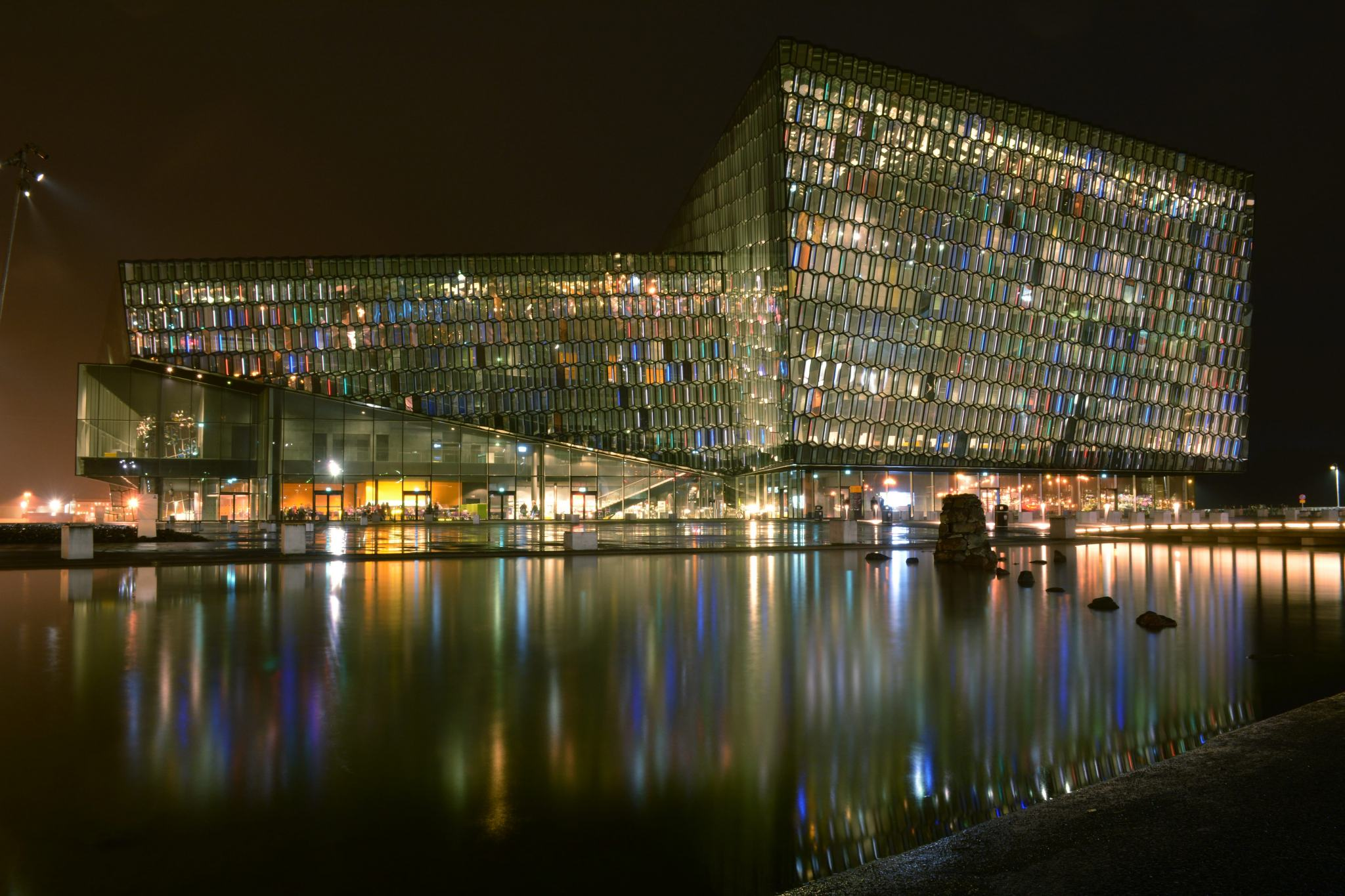 Iceland Honeymoon Harpa Concert Hall at night