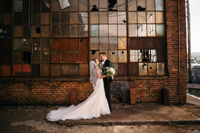 I snuck off with the bride and groom to an abandoned industrial area to do their portraits near the Turnbull Chattanooga