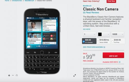 BlackBerry Classic on Verizon