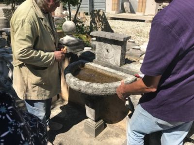 Country Sink Basin and Faceplate for stone accent pieces for a new house in Le Marche