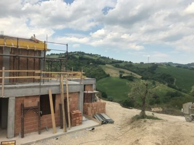 From the Front Looking NW  at site of a new house being built in Le Marche, Italy