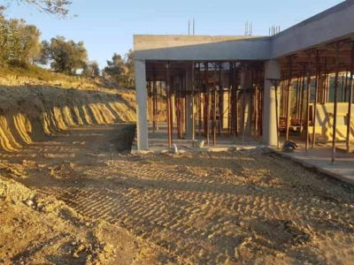 Front Grading Nearly Complete at a house being constructed in Le Marche