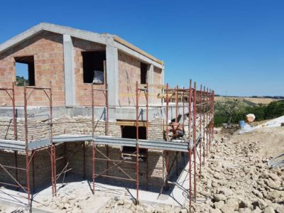 Ground Floor Stone Complete on a new house in Le Marche, Italy