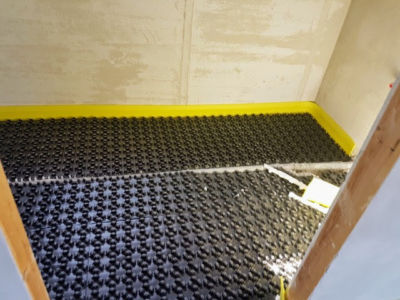 Installed Underfloor Heating Base in a new construction house in Le Marche