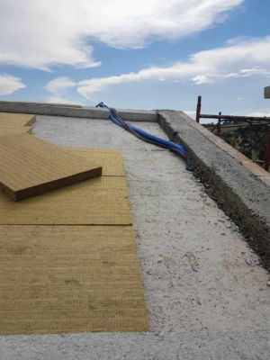 Insulation Going on the Roof of a new house being built in Le Marche, Italy