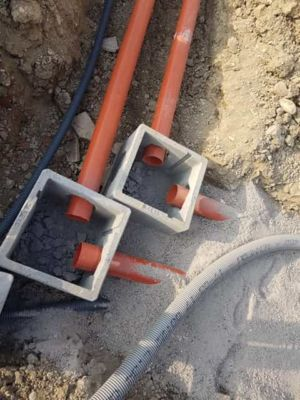 Junction Box at new house construction site in Le Marche