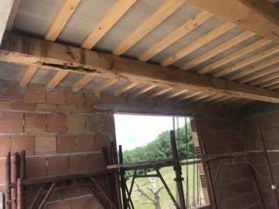 Kitchen Window and Ceiling of a new house being built in Le Marche, Italy