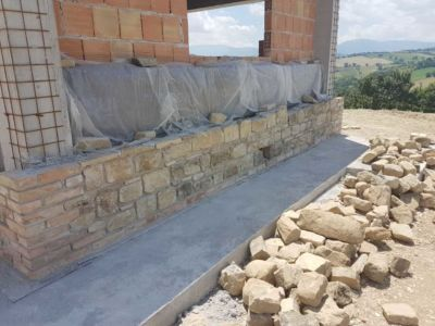 North Wall of Kitchen on a new stone house in Le Marche