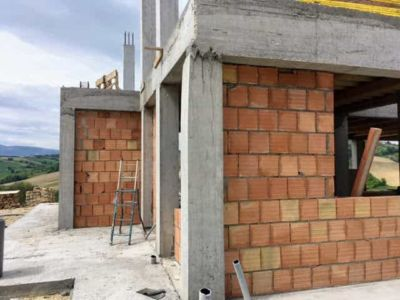 Outside of Study Corner of new house being constructed near Macerata, Le Marche
