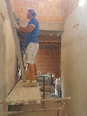 Plastering the Utility Room of a new house being built in Le Marche