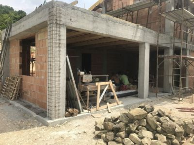 Position of Loggia Outside Kitchen of a new house being built in Le Marche, Italy
