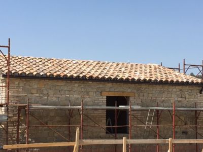 Roof Closeup on a new house being built in Le Marche, Italy