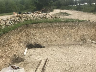 Showing the Problem Slope  at site of a new house being built in Le Marche, Italy