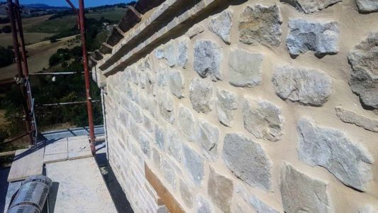 South Side Wall Closeup of a new house being built in Le Marche