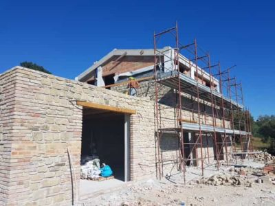 Stone Work on Back Side at a new stone house being built in Le Marche