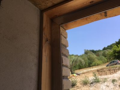 Study Window Frame on a new house being built in Le Marche, Italy