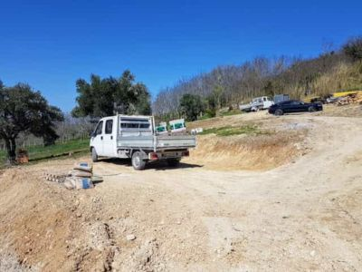 Truck on Bottom Parking Level at new house being constructed in Le Marche