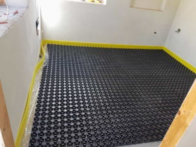 Underfloor Heating Base in Study inside a new house being built in Le Marche