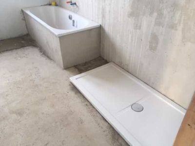 Upstairs Bathtub and Shower Base in Place