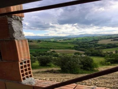 View from SW Bedroom of a new house being built in Le Marche