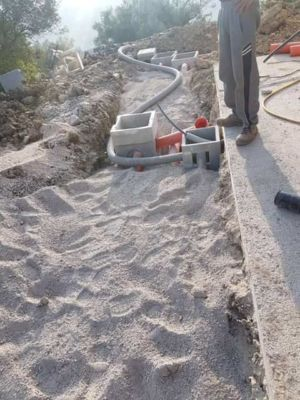 Waste Line Connection at new house construction site in Le Marche