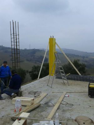 Column Form Complete at new house construction site in Le Marche